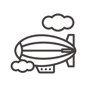 飛行船と雲のアイコン