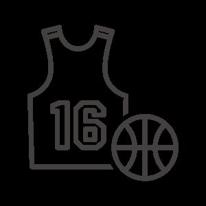 バスケットボールとユニフォームのアイコン
