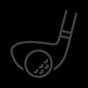 ゴルフボールとドライバーのアイコン