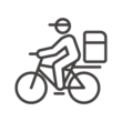 自転車で配達/宅配のアイコン