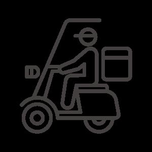 バイクで配達/フードデリバリーのアイコン